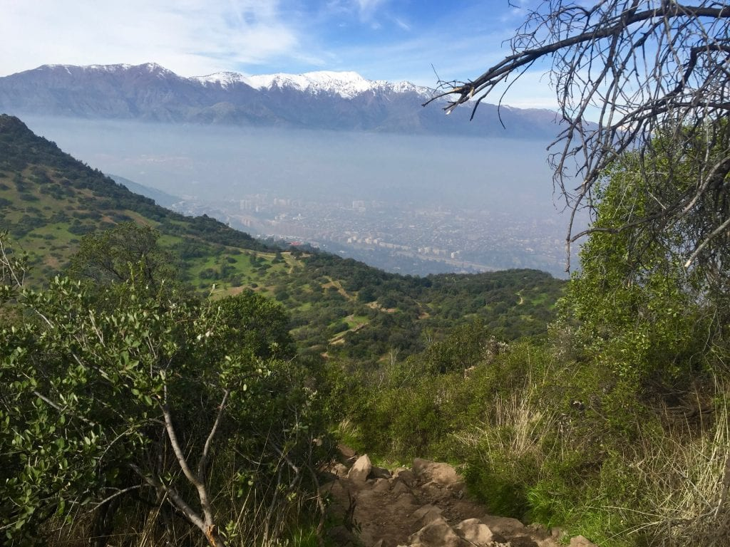The smog as seen from Cerro Manquehue in Santiago, Chile