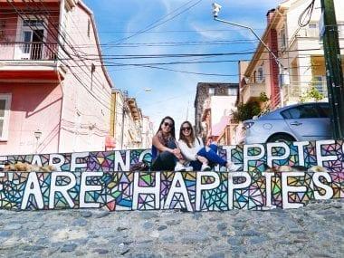 The famous Hippies not Happies street art in Valparaiso