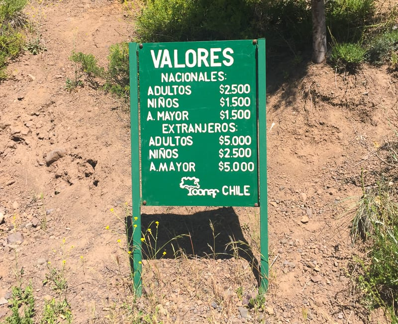 Prices to enter Monumento Natural El Morado