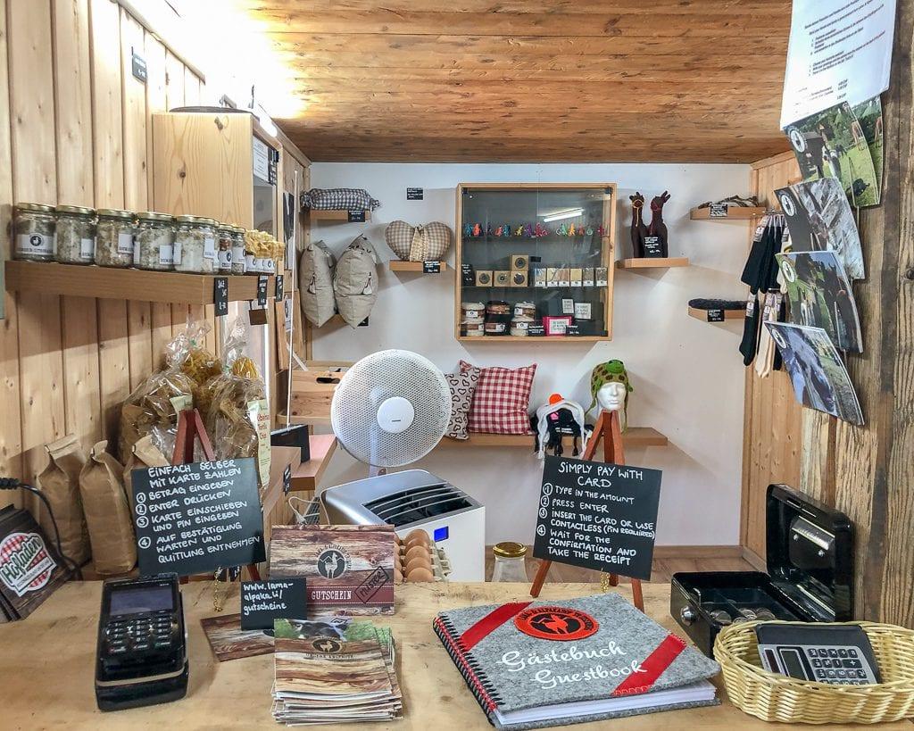 The farm shop at the Triesenberg llama farm.