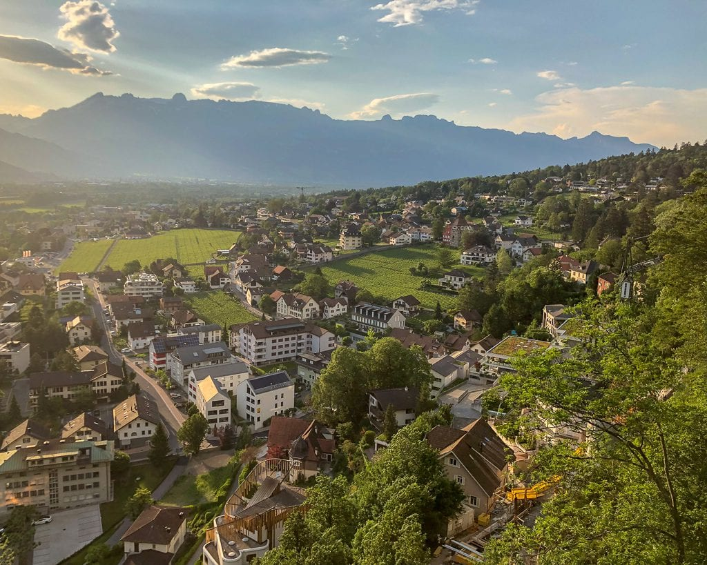 The panoramic views on the path up to Visit Schloss Vaduz AKA Vaduz Castle in Liechtenstein