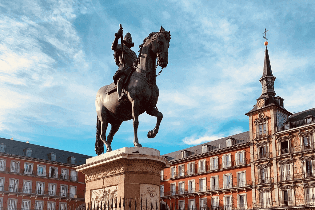 Passing through Plaza Mayor on my walking tour of Madrid.