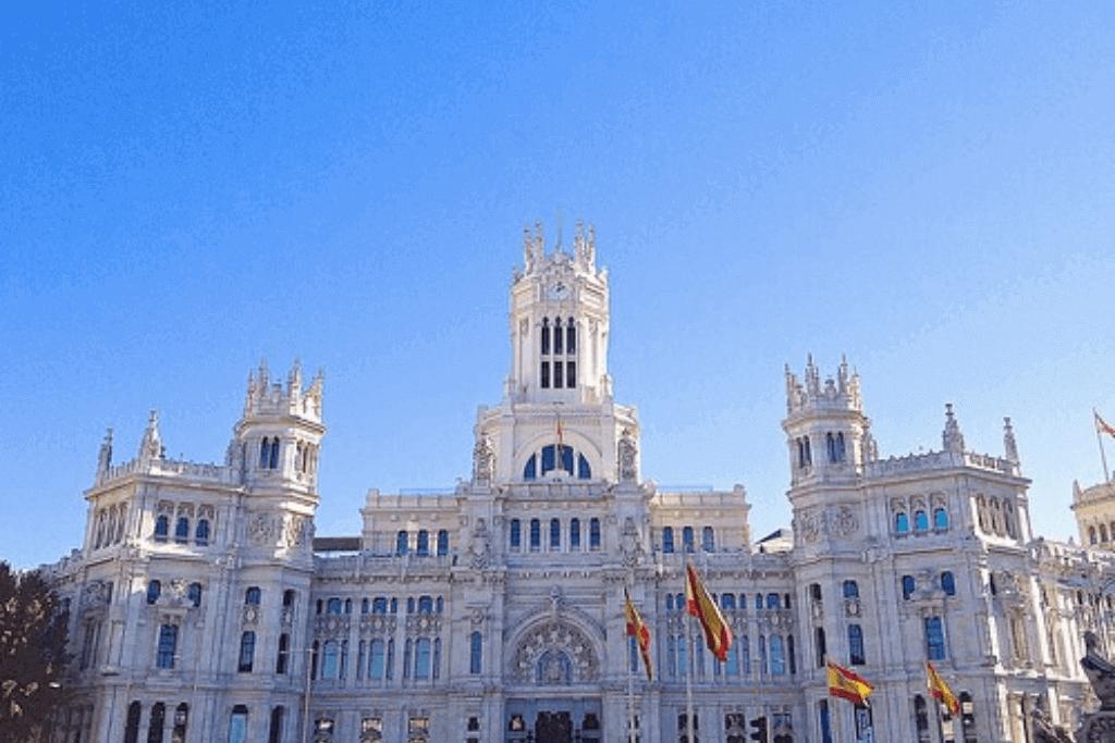 Walking through Plaza Cibeles on my walking tour of Madrid