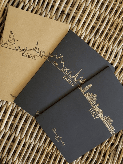 Handpainted bucket list travel journals set from Etsy.