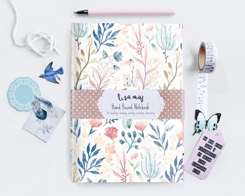 Watercolor notebooks and journals by Lisa Maj Designs.